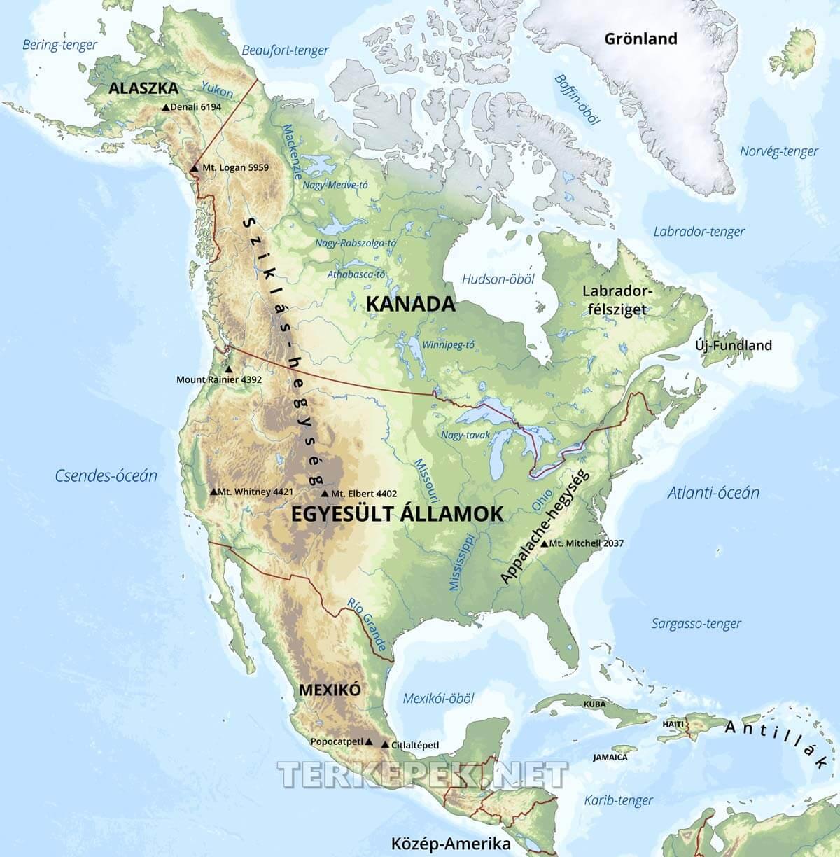 észak amerika térkép Észak Amerika domborzati térképe észak amerika térkép